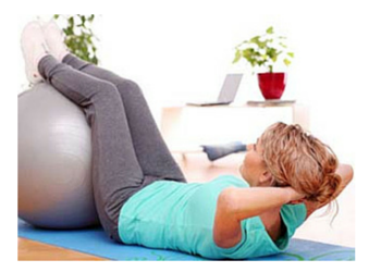 Fitball abdominal curl exercise