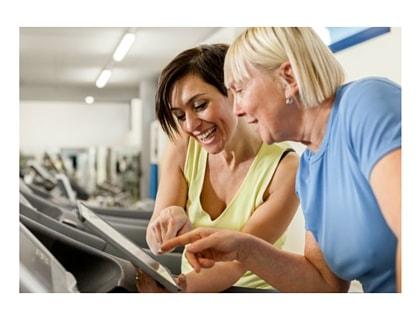 Women treadmill walking