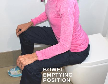 Bowel movement position after prolapse surgery