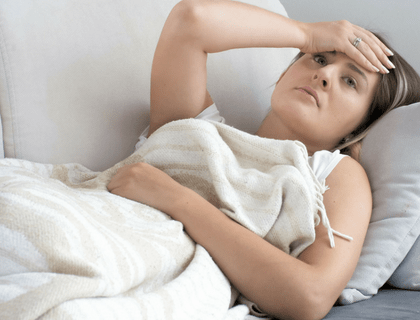 Lying on lounge after hysterectomy